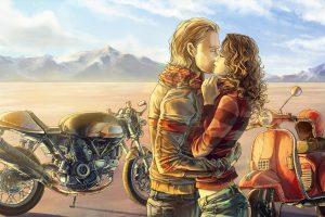 Mood Kiss Love Motorbike Bike Art Painting