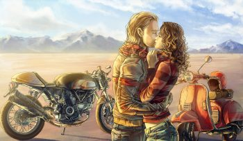 Mood Kiss Love Motorbike Bike Art Painting