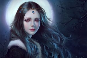 Moonlight Tree Girl Fantasy Face Red Eyes Princess Long Hair Beautiful