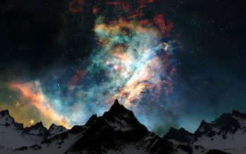 Mountains Clouds Nature Snow Outer Space Night Stars Colors Get Neat Image For Free