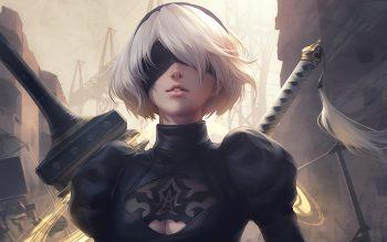 Nier Automata Yorha 2b Eyepatch Swords White Hair Neat Image For Free
