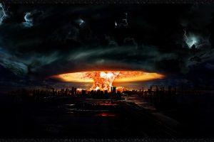 Nuclear Explosion Apocalypse Apocalyptic Explosion Fire Flames Storm Rain Lightning Dark Horror Evil