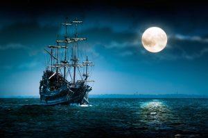 Sailboat Sea Moon Ship Boat Ocean Night Mood Moon High Resolution iPhone Photograph