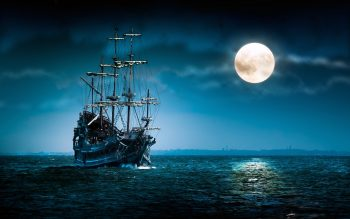 Sailboat Sea Moon Ship Boat Ocean Night Mood Moon High Resolution iPhone Photograph
