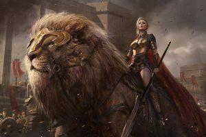 Sean Shi Artstation Original Fantasy Art Girl Beautiful Warrior Lion Shuo Shi