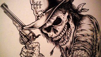 Skull Dark Western Weapon Gun Pistol