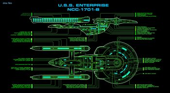 Star Trek Starship Enterprise Spaceship Green Diagram