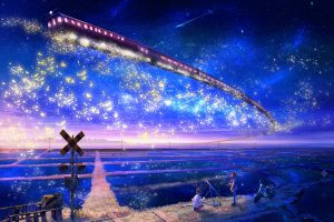 Stars Trains Telescope Scooters Scenic Anime Anime Boys Skyscapes Anime Girls Railway