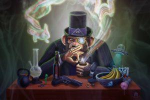 The Joe Rogan Experience Monkey Smoking Pipe Monocle Hat Ufo Wtf Bong Handgun Psychedelic Drugs Beer Cartoons 420