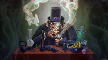 The Joe Rogan Experience Monkey Smoking Pipe Monocle Hat Ufo Wtf Bong Handgun Psychedelic Drugs Beer Cartoons 420