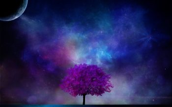 Tree Planet 3D Art Nebula Sky Science Fiction Planet Moon Stars Blossom Neat Image For Free