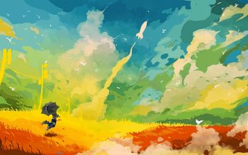 Umbrella Rocket Field Abstract Drawing Fantasy Color Sc Fi Birds Landscapes Neat Image For Free