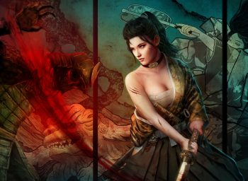 Warriors Fantasy Girls Weapons Sword Katana Cleavge Women Females Brunettes