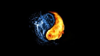 Water Abstract Fire Ying Yang Black Background
