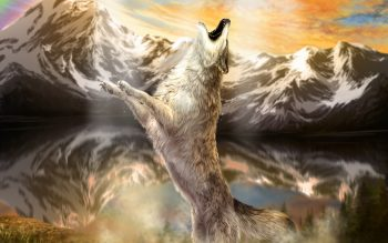 Wolves Mountains Painting Art Animals Wolf